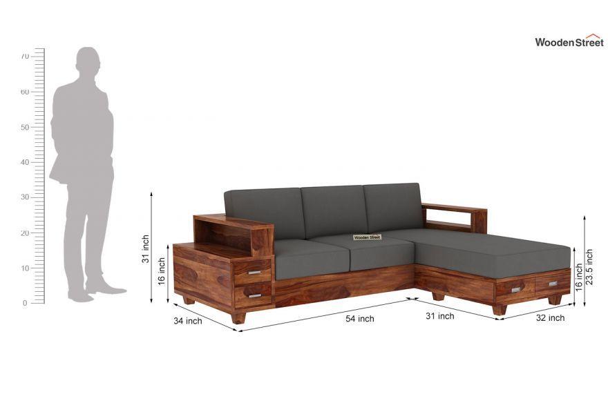 Buy Solace L Shaped Wooden Sofa Teak Finish Online In India In 2020 Wooden Sofa Wooden Sofa Designs L Shaped Sofa