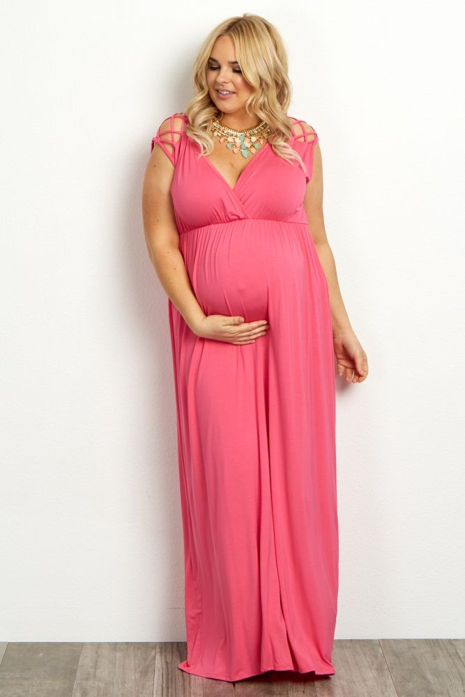 Fuchsia Woven Shoulder Plus Maternity Nursing Maxi Dress Baby
