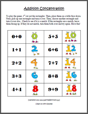 FREE Addition Concentration Game with Doubles (0-9) | Numbers and ...