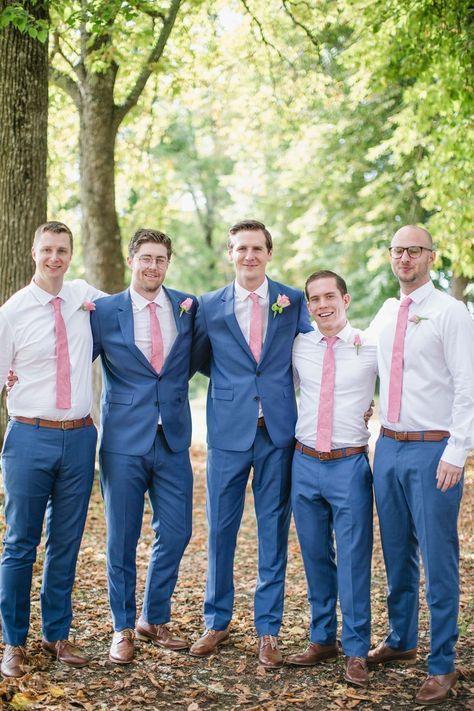Groom & groomsmen in blue & pink