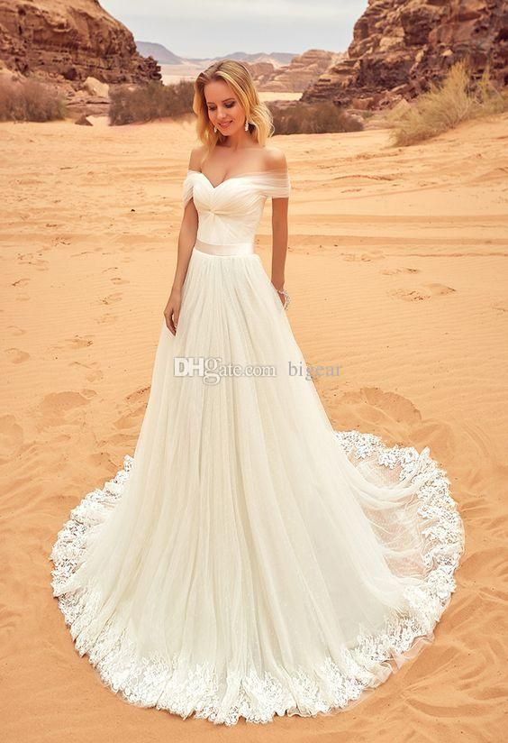 Off the Shoulder Ivory Wedding Dress with Lace Trim | Wedding dress ...