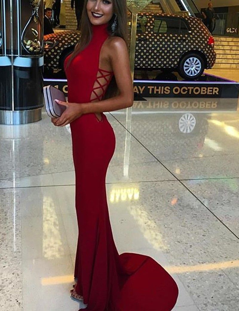 Fabulous high neck prom dresses red prom dresses mermaid prom dress