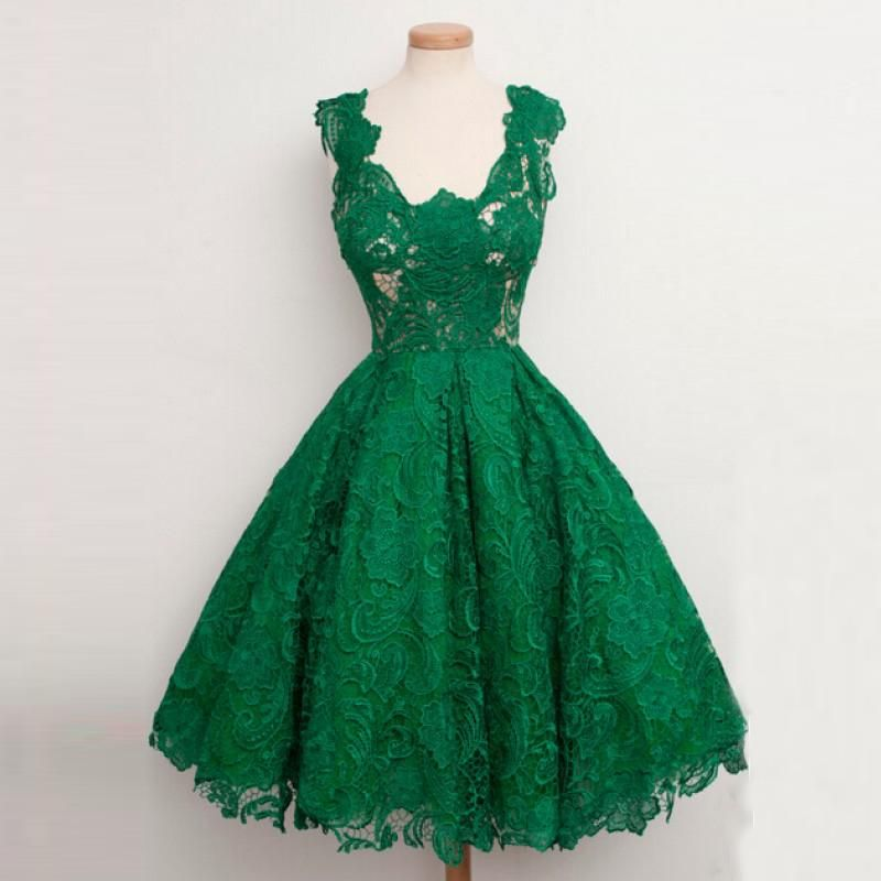 c84b8334ed9 Emerald Green Lace Short Prom Dresses Classic Women Cocktail Dresses Party  Evening Formal Dresses Tea Length Real Photos Vestidos De Festa Prom Dress  Sale ...