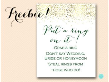 graphic relating to Put a Ring on It Bridal Shower Game Free Printable referred to as Freebies Bridal shower absolutely free printables Environmentally friendly bridal