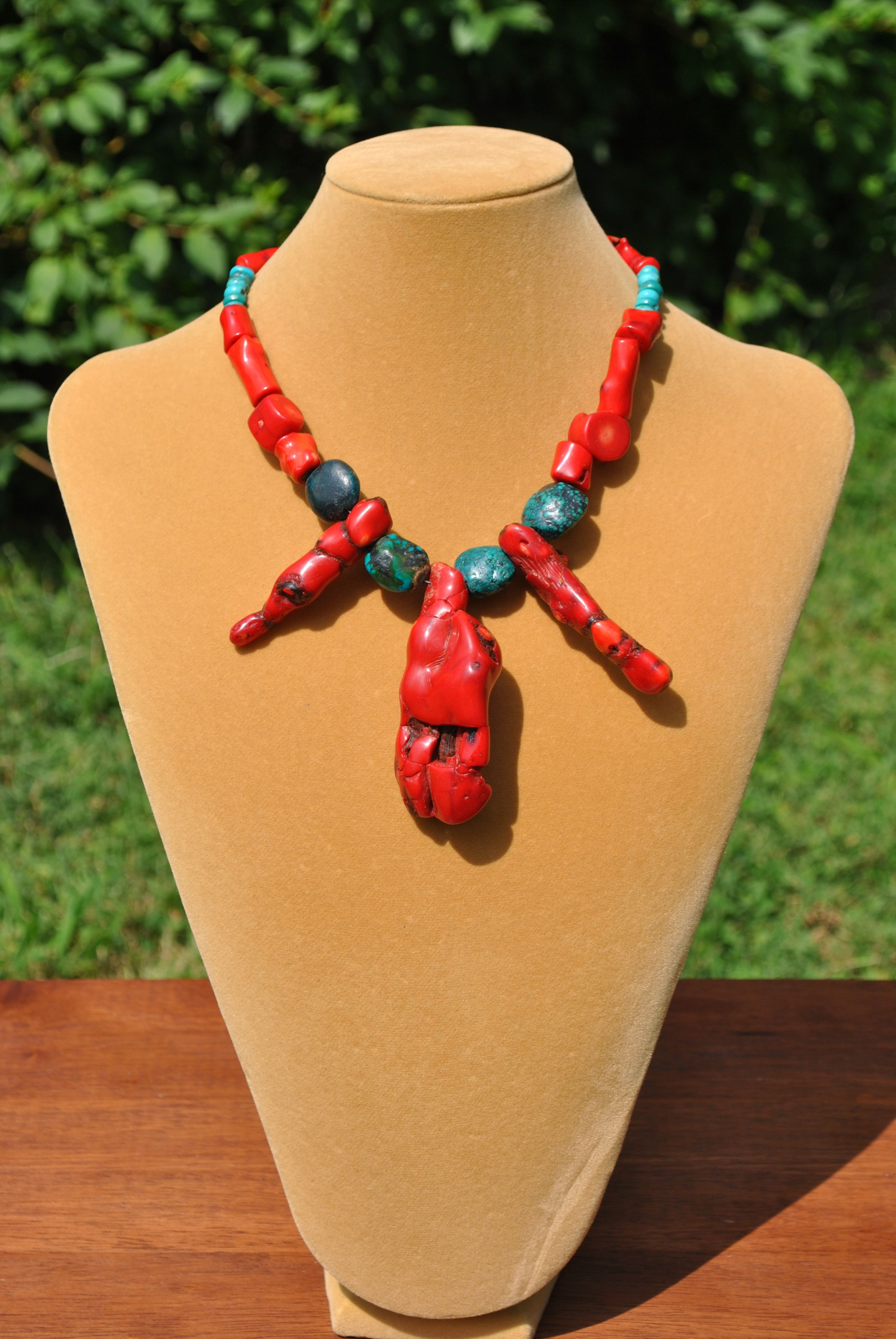 I guess you have to be a certain kind of person to love this coral and turquoise necklace like I do.  There's something about it that is primitive and powerful to me--and mildly apocalyptic--mad max even..