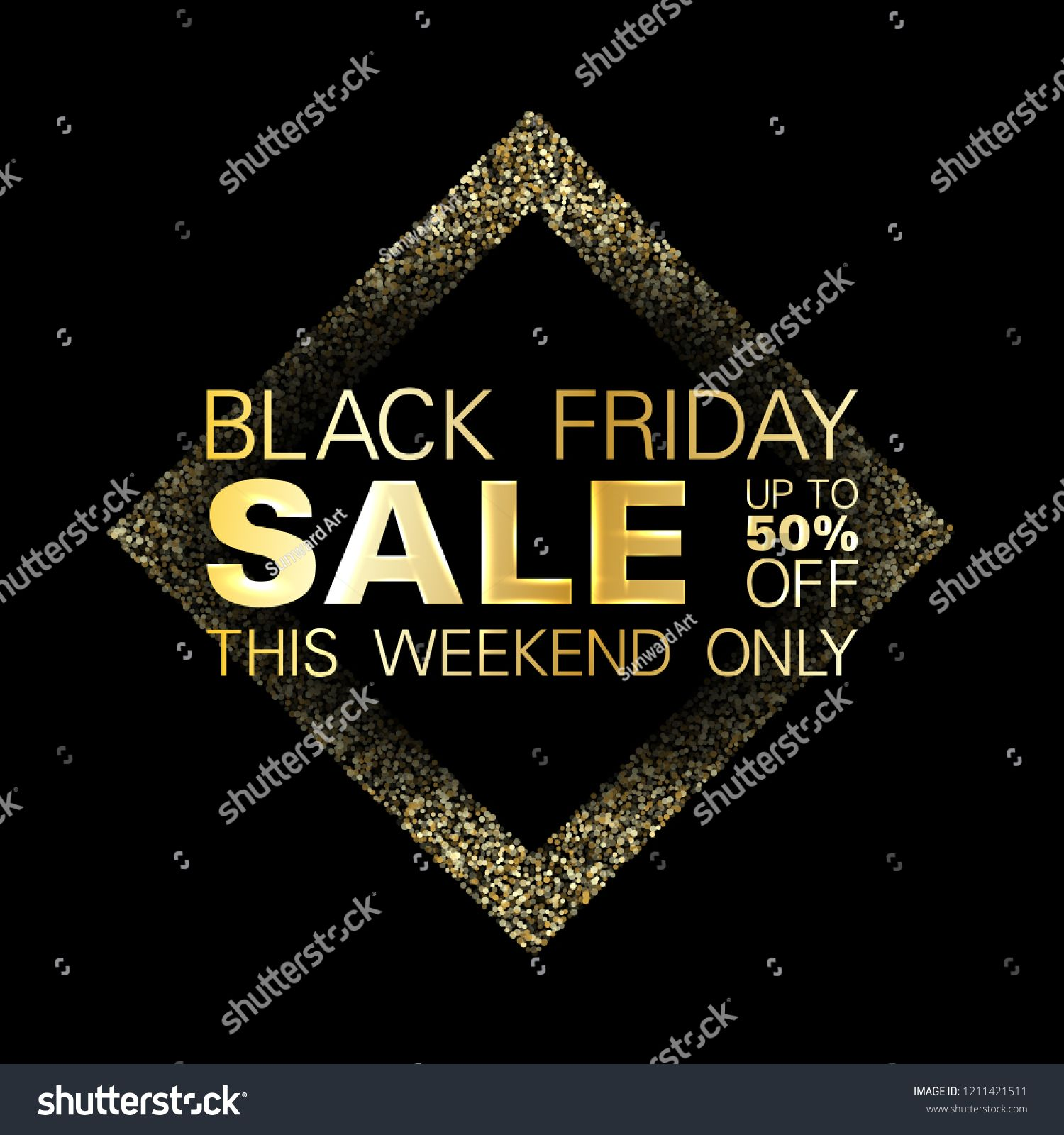 Black friday sale gold glitter background vector. Up to 50 percent off discount, this weekend only text. Black shine gold sparkles background. Friday sale banner design. background#glitter#vector#friday #goldglitterbackground