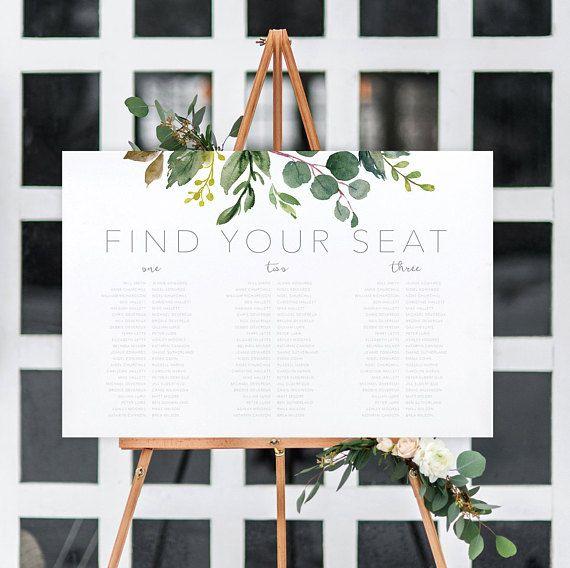 Botanical Wedding Seating Plan, Banquet Seating Chart