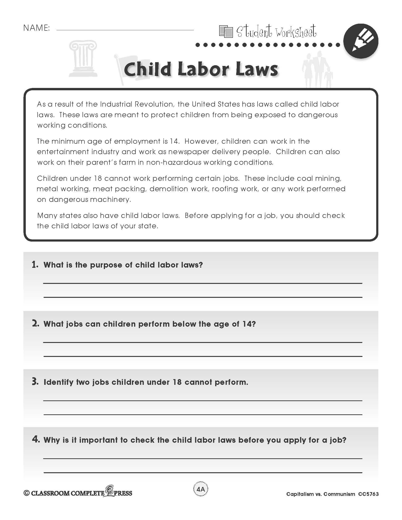 Learn About Child Labor Laws In The U S In This Free Activity