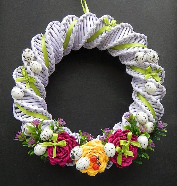 Decokuferek Rekodzielo Artystyczne Wianek Wielkanocny Z Papierowej Wikliny Recycled Paper Crafts Paper Crafts Diy Tutorials Paper Basket Weaving