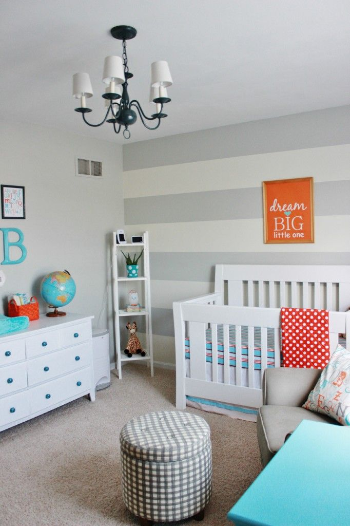 Aqua Orange And Grey Nursery Striped Nursery Orange