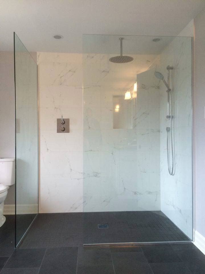Custom 10mm Clear Tempered Glass Shower Enclosure Without A Door Or Sill Www Grandriverglass Com Glass Shower Enclosures Glass Shower Frameless Shower Doors