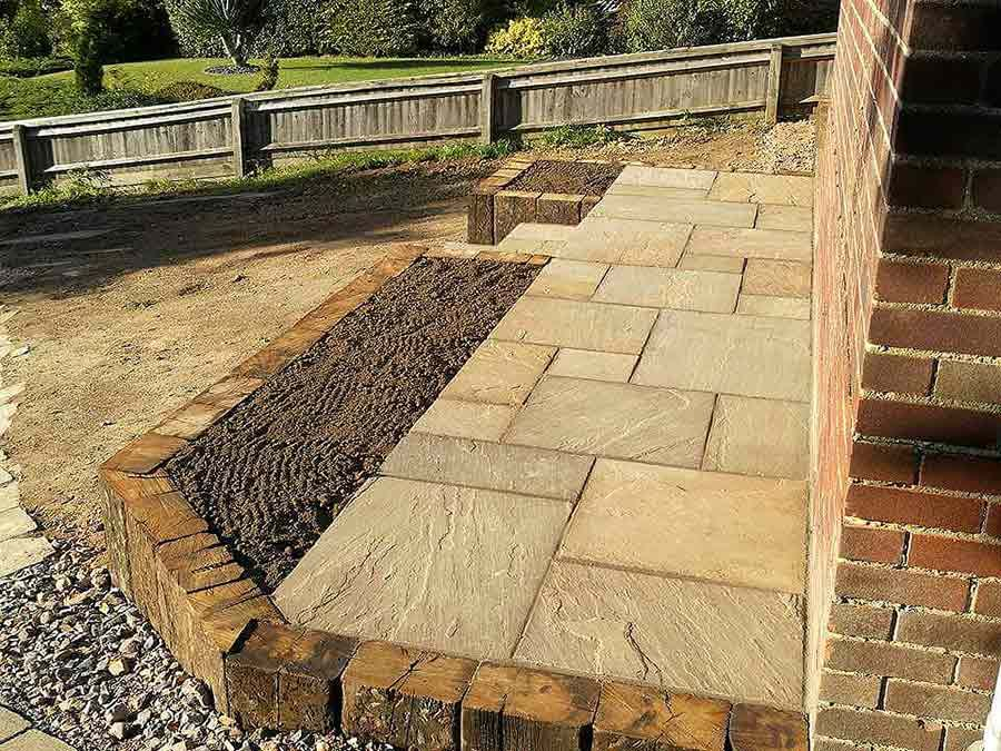 New front steps to the house were created with reclaimed railway ...