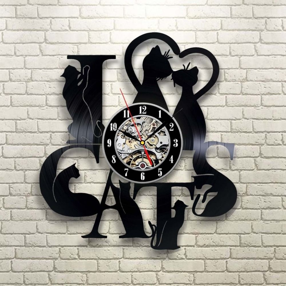 Find More Wall Clocks Information About 2017 New Arrival Vinyl Record Clock Cat Theme Wall Watch Vintage Retro Cl Retro Wall Clock Vintage Wall Clock Cat Clock