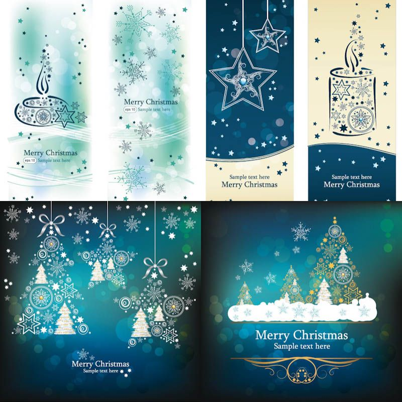 Christmas cards and banners vector