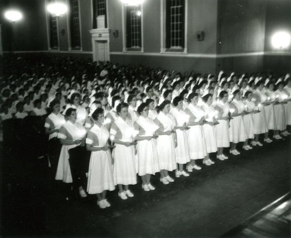 This photo was taken during the 1960 graduation ceremonies for the Lancaster General Hospital College of Nursing in Hensel Hall.
