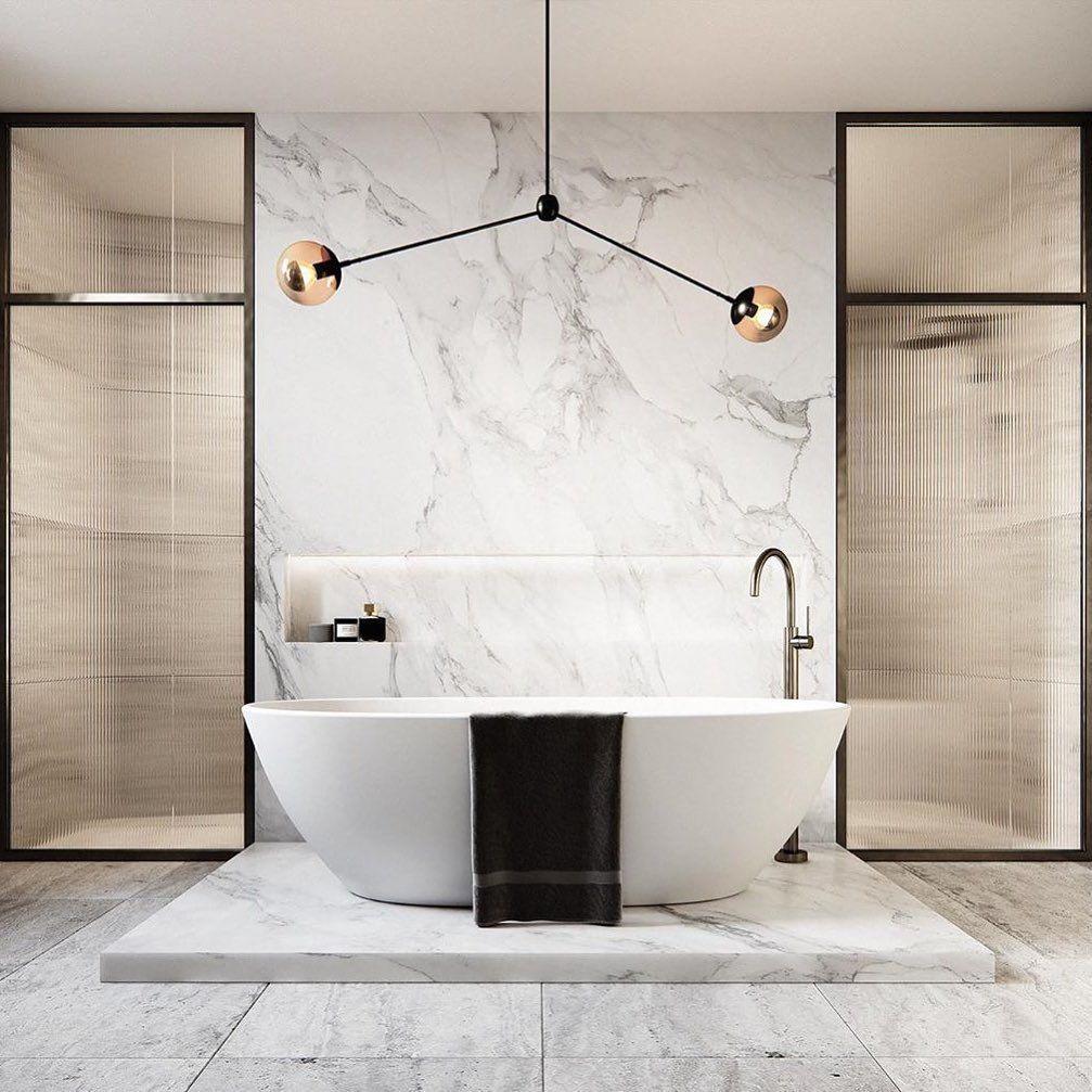 Minimal Luxury On Instagram A Stunning White Marble Bathroom Interior Design By Cerastribleyar Modern Marble Bathroom White Marble Bathrooms Marble Bathroom