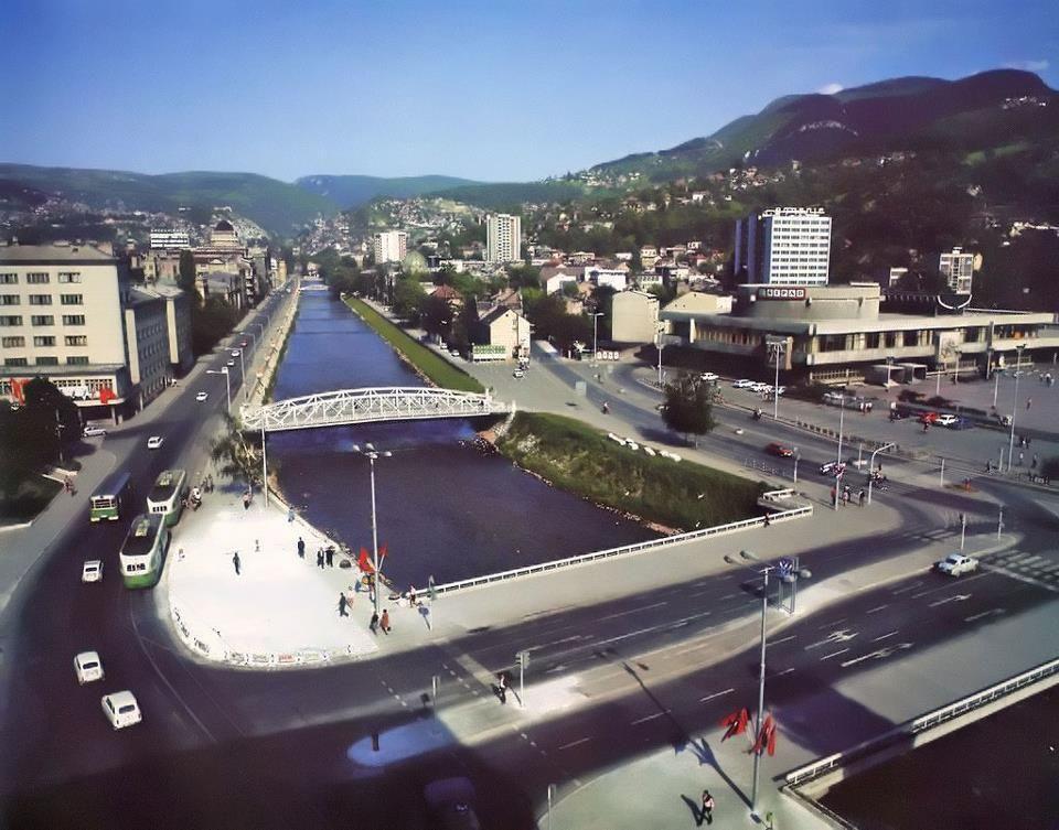 Skenderija Hall on Miljacka river, Sarajevo, Bosna & Hercegovina