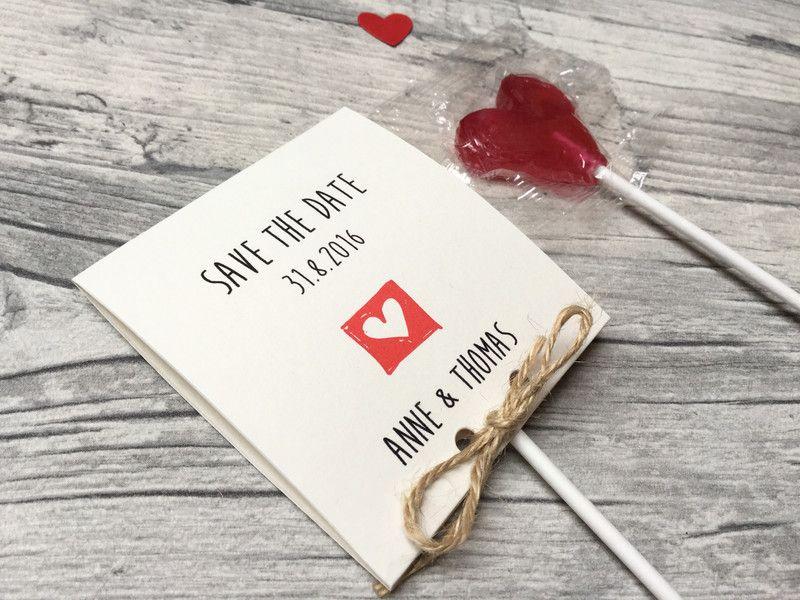 Einladungskarten   SAVE THE DATE Karte Inkl.Lollies   Ein Designerstück Von  Kunstundtext Bei DaWanda
