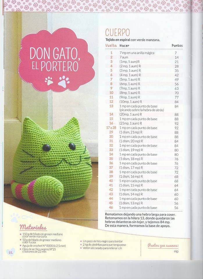 Don gato el portero | patrones | Pinterest | Amigurumi, Crochet and ...