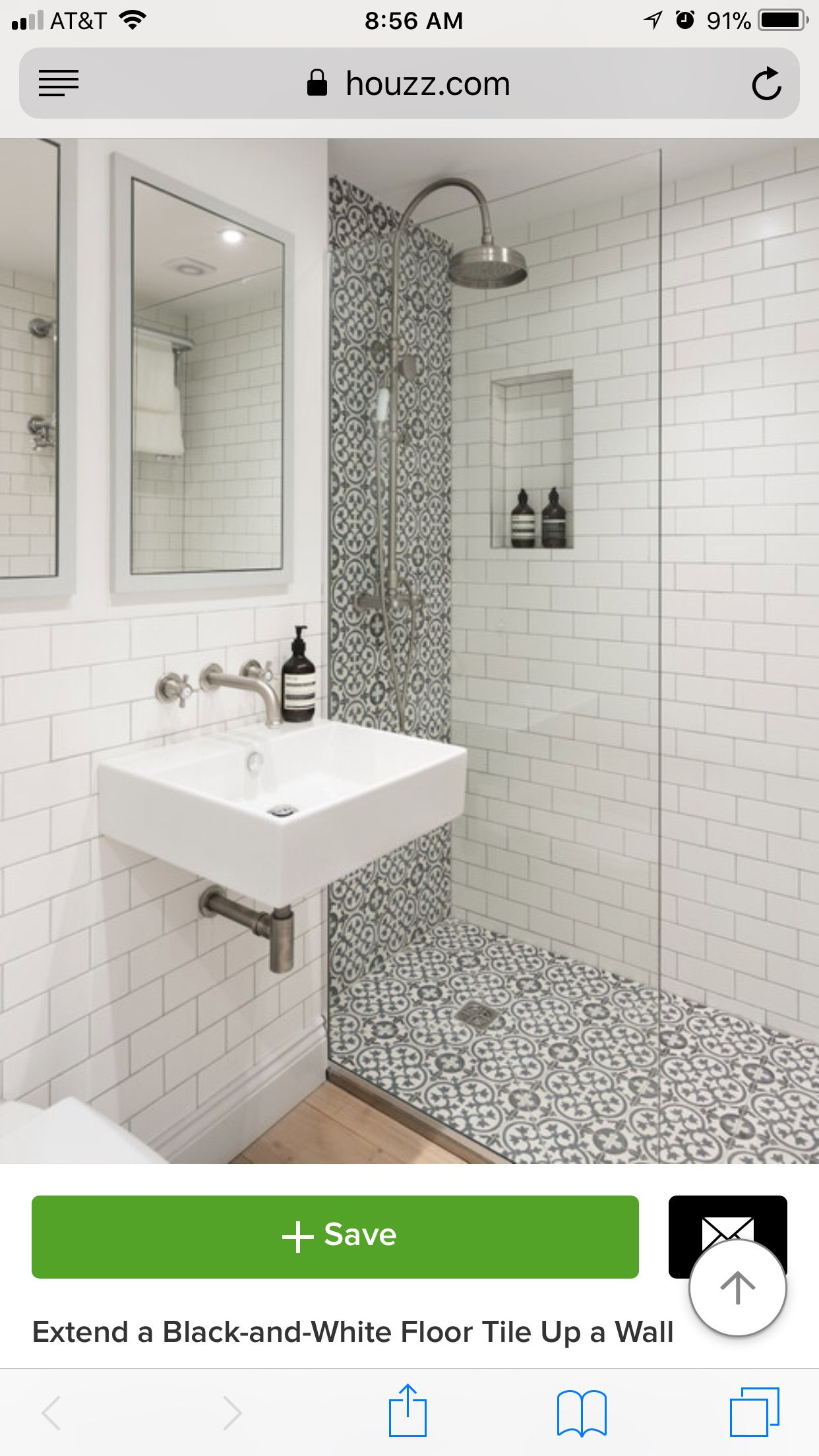 Use of tile from floor up the wall has interesting effects - https ...
