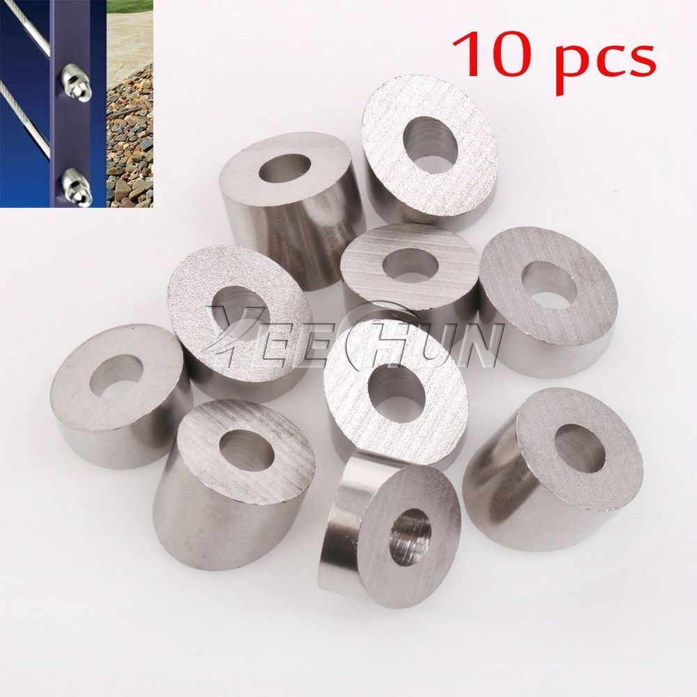 """Lot of 10 Stainless Steel T316 Cable Railing 30° Angled Washer for 1//8/"""" /& 3//16/"""""""