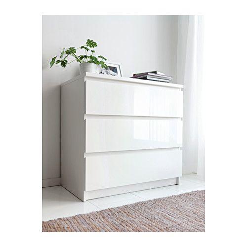 MALM Lipasto, 3 laatikkoa, vaaleaksi petsattu tammiviilu Ikea malm