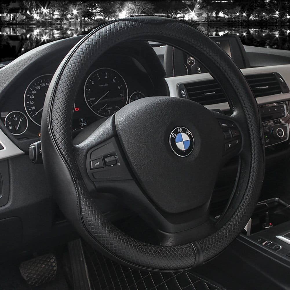 """15/"""" Microfiber Leather Car Steering Wheel Cover Auto Universal Fit Black+Blue"""