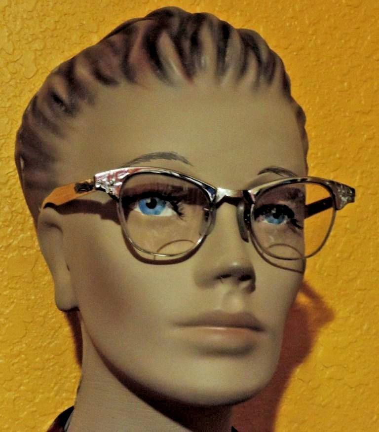 01e88effd4 Vtg Art Craft Cat Eyeglasses 12K GF Aluminum Glasses Frame Rhinestones 4-5  1 4  ArtCraft  CatEye
