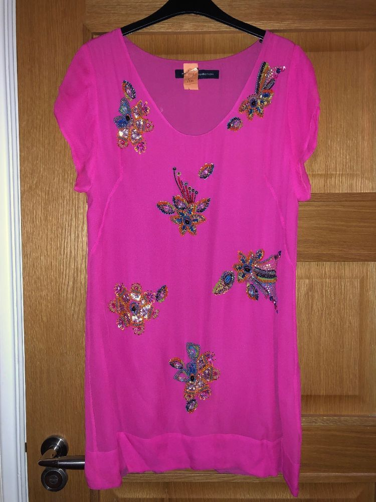 b8cb052a0c609 French Connection Bright Cerise Pink Beaded Sequin Dress Tunic Size 12 100%  Silk  fashion  clothing  shoes  accessories  womensclothing  dresses (ebay  link)