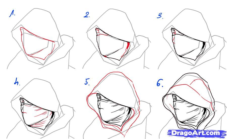How To Draw An Assassin Male Wearing A Hood Clothing Reference