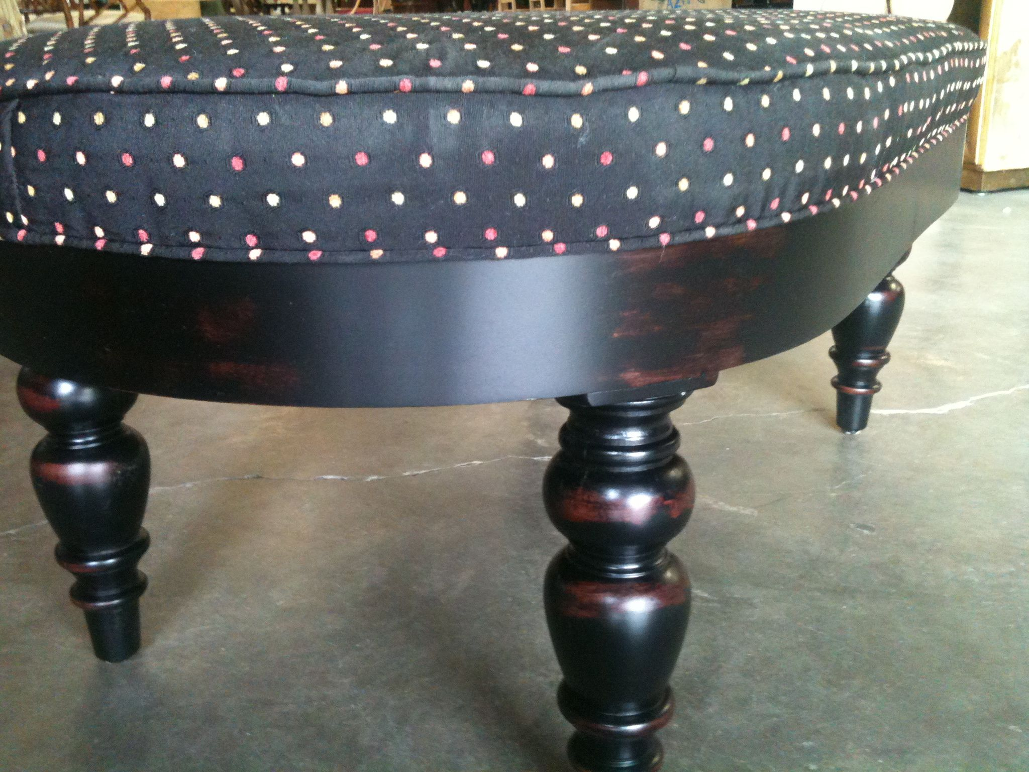 """Custom Ottomans- We build them all the time! 37"""" L x 22"""" D x 16""""H Finished in Black rub and upholstered in clients COM~We usually sell these ottomans with brass casters on them but this client did not want the casters."""