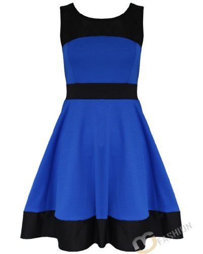 Womens Ladies Tailored Mesh Panel Block Colour Sleeveless Skater Flared Dress