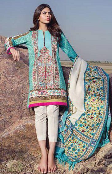 f6bd64a02 Buy Turquoise Marina Salwar Kameez by Sana Safinaz Winter Collection ...