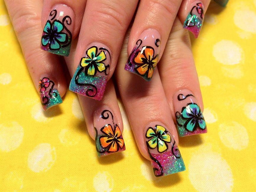 Summer Flowers Nail Art Gallery Nails Pinterest Flower Nail