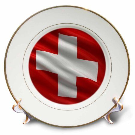 3drose Flag Of Switzerland Waving In The Wind Porcelain Plate 8 Inch Decorative Plates East Urban Home Decor
