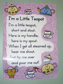 I M A Little Teapot Poem Nursery Rymes Rhyming Poems Nursery