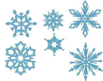 6 Snowflakes From Frozen Movie Machine Embroidery Design Files