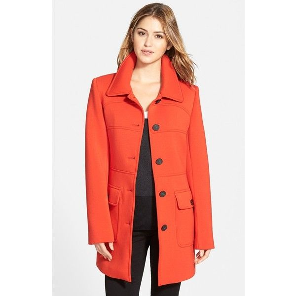Vince Camuto Single Breasted Ponte Knit Coat ($200) ❤ liked on Polyvore