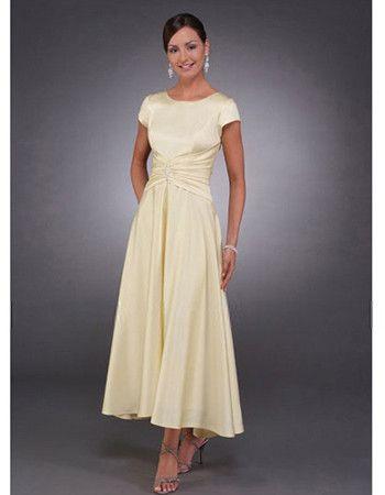 2012 Long Satin Short Sleeves Mother of the Bride, Groom Dresses ...