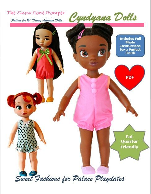The Snow Cone Romper a Doll Clothes PDF Pattern for Disney Animator's Collection Dolls by Cyndyana Dolls