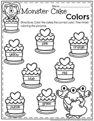 Free Monster Cake Colors Preschool Worksheet For February February Preschool Worksheets Preschool Worksheets Learning Colors