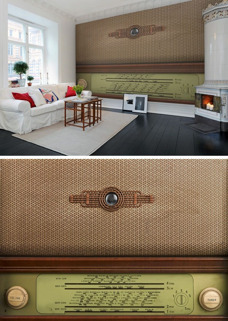 Nostalgic walls with #wallpaper - Radio - from rebelwalls.com