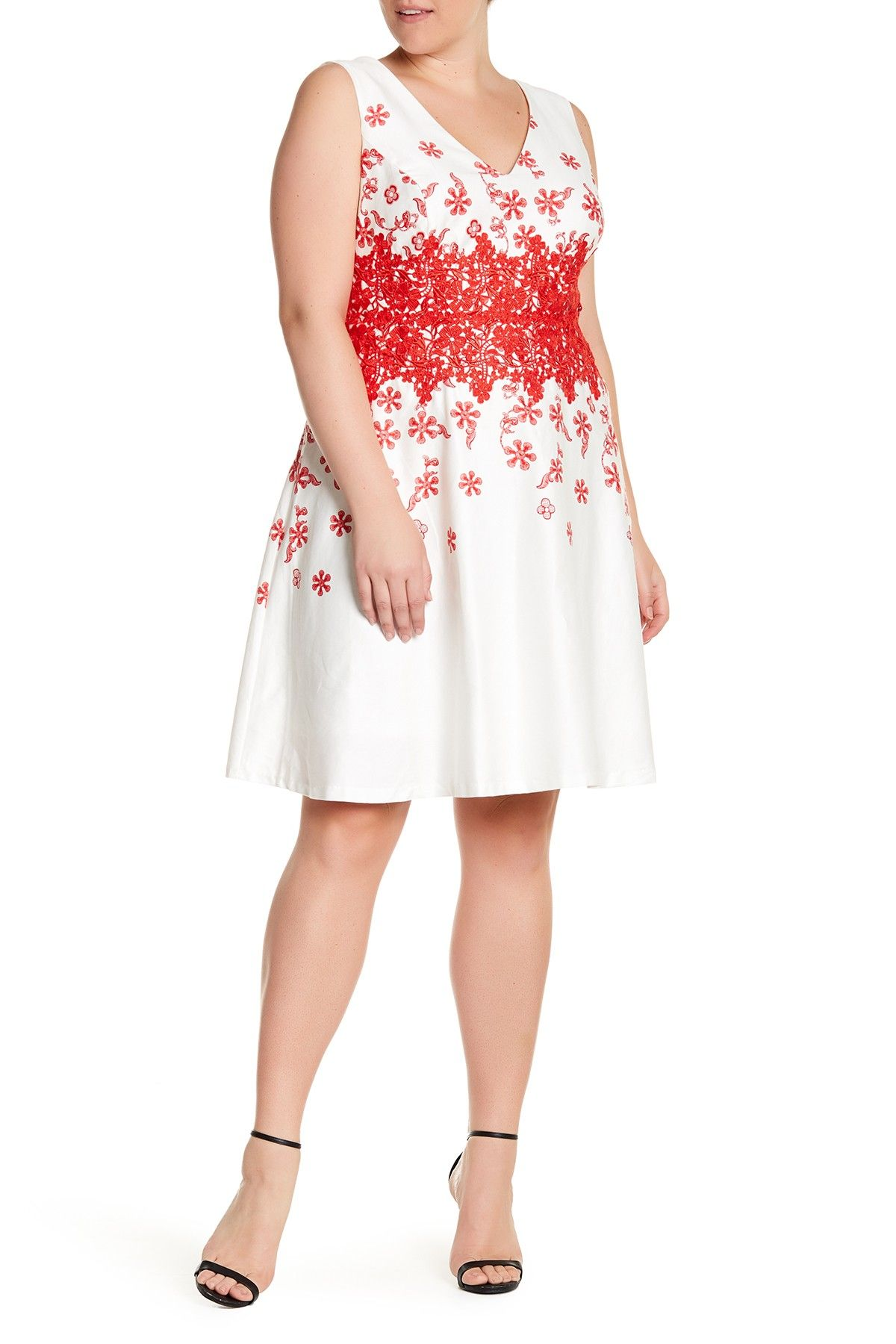 Sangria Embroidered Fit Flare Dress Plus Size All Things My
