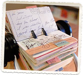 """i have so many cards and pictures and memories  just stuffed in boxes....  i love this idea to turn them into a """"rolodex scrapbook""""  ....using vintage cards  and photos  ....and bits of this and that  so that all that goodness that's just hiding away  could be at your fingertips"""