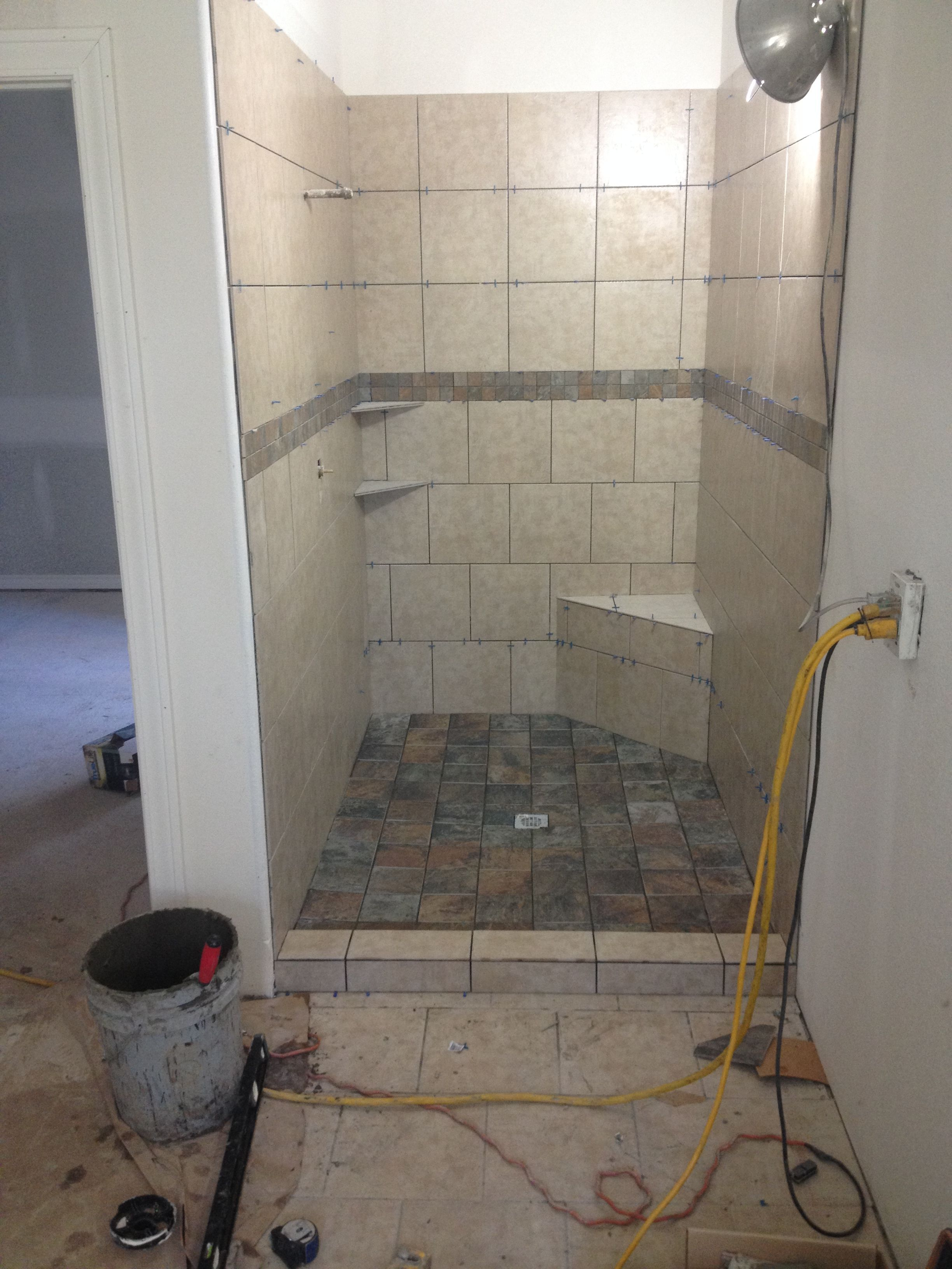Tile shower broken joint and straight lay | Ideas for the House ...