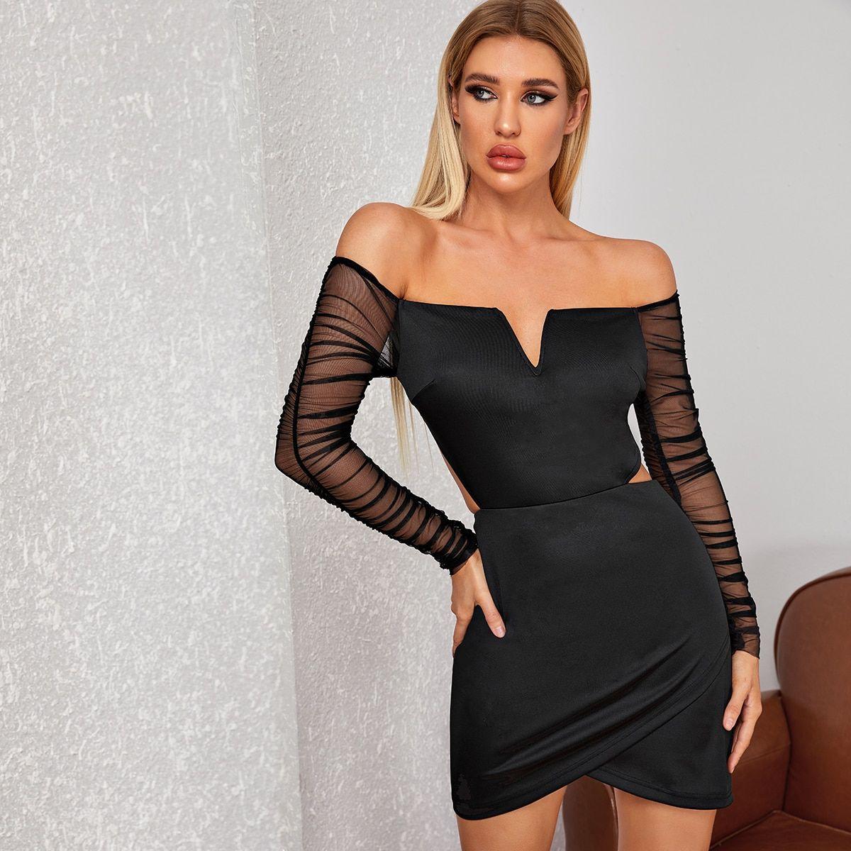 Notched Neck Mesh Sleeve Cutout Wrap Dress Mesh Sleeves Wrap Dress Glamorous Dresses [ 1200 x 1200 Pixel ]