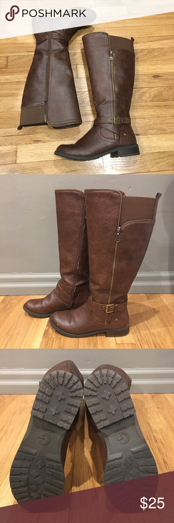 G by Guess Wide Calf Boots G by Guess brown wide calf boots. Zipper detail and buckle. Elastic on back to make closure easier.  Small nick on left toe. G by Guess Shoes Winter & Rain Boots