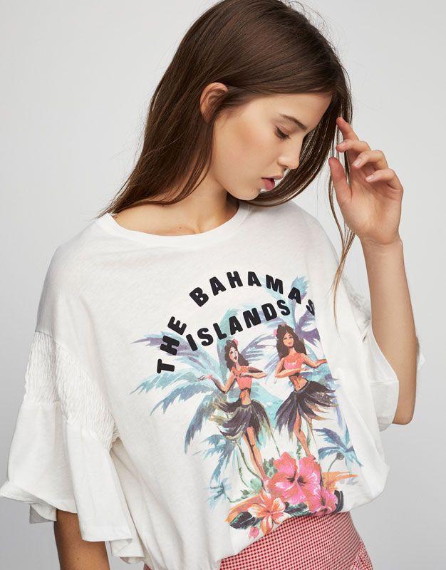 d3f1d625c8818 Pull Bear - femme - vêtements - t-shirts - t-shirt imprimé tropical - glace  - 05235330-V2017