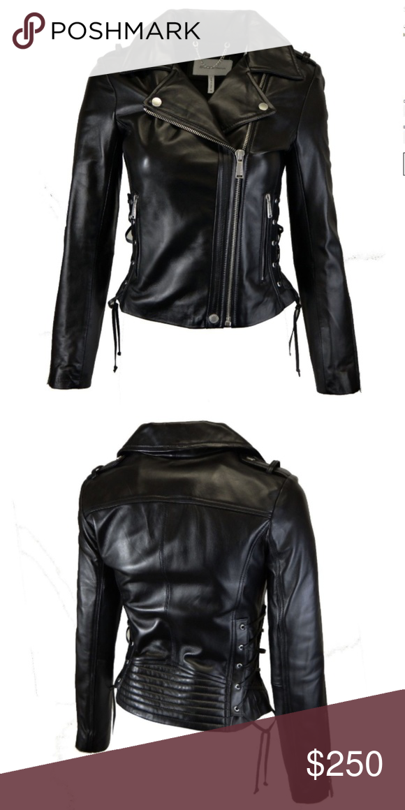 ac6d9661cd009 BCBG Leather Moto Jacket with Corset Detail Hit the ground running this  fall with a unique but classic piece. Soft lambskin leather in a classic  silhouette ...
