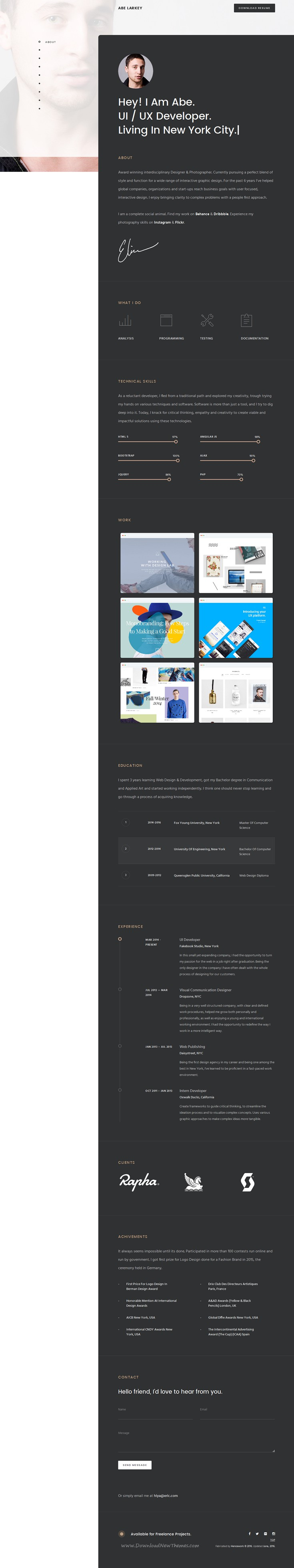 Eric is a responsive cv resume vcard personal